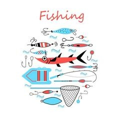 Collection of various fishing gear made in a mod vector