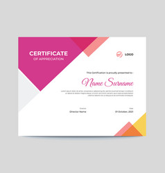 Colored pink and orange shapes certificate design vector