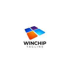 Colorful square secure chip mobile logo design vector