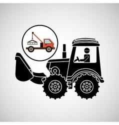 construction truck concept car tow design vector image