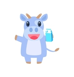 Cow Holding Box Of Milk vector image