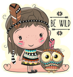 Cute cartoon girl and owl vector