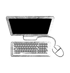 Desk computer with keyboard and mouse icon image vector