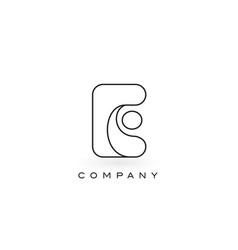 E monogram letter logo with thin black monogram vector