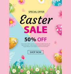 Easter sale banner design template with colorful vector