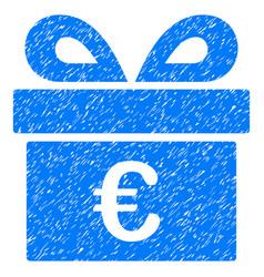 Euro gift grunge icon vector