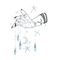 Female hand with gem pendants and moon hand drawn vector