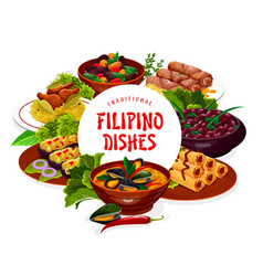 Filipino asian cuisine dishes banner frame vector