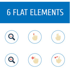 Flat icons magnifier rearward zoom out and other vector