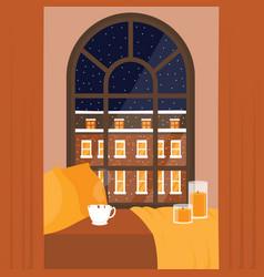 Flat night city buildings window vector