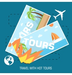flat travel with hot tours tickets design concept vector image
