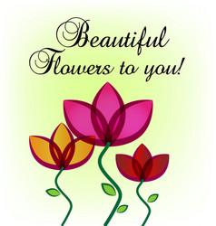 Flowers greeting card wedding invitation vector