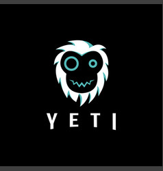 fun minimalist yeti head face logo vector image