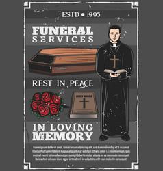 Funeral service mortuary burial ceremony agency vector