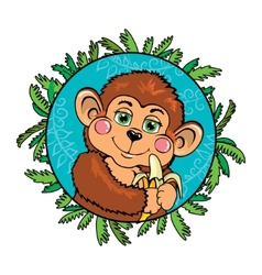 Funny monkey with a banana in her hand As part of vector image