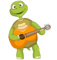 Funny Turtle Guitarist vector