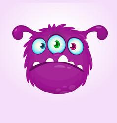 funny violet green cartoon alien with three eyes vector image