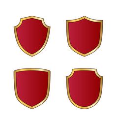 gold and red shield shape icons set logo emblem vector image