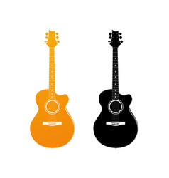 golden icon of acoustic guitar vector image