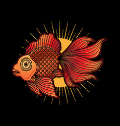 goldfish tattoo flash vector image