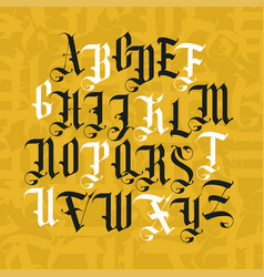 Gothic font set vintage alphabet letters vector