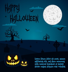 halloween pumpkins at cemetery vector image