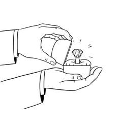 hands precious ring coloring vector image