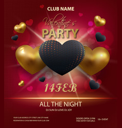 happy valentines day party poster template design vector image