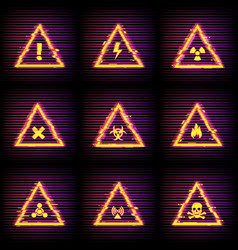 hazard warning signs with digital glitch effect vector image