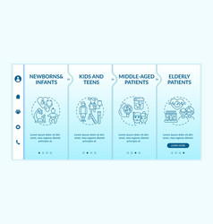 Health screening age groups onboarding template vector