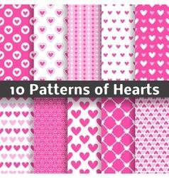 Heart shape seamless patterns tiling vector