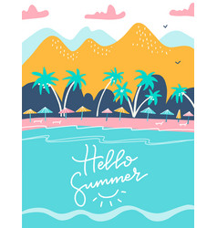 hello summer lettering quote holiday and tropical vector image