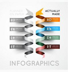 Infographic options with color ribbons vector image