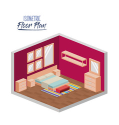 isometric floor plan of bedroom double bed and vector image