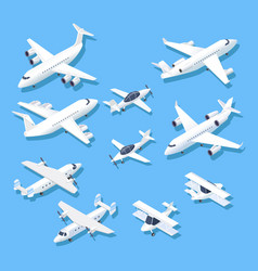 isometric planes private jet airplanes aircraft vector image