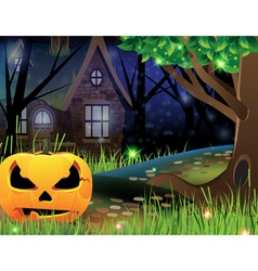 Jack O Lantern and abandoned house vector