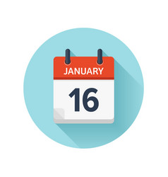January 16 flat daily calendar icon date vector