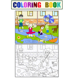 Kids coloring children playing in rainy vector