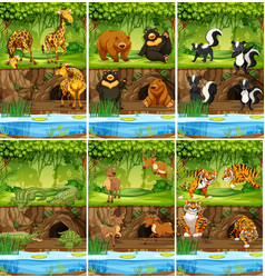 Large set of animals in jungle vector