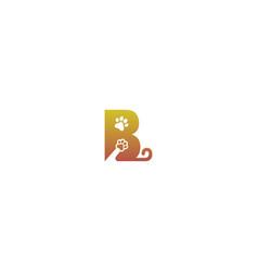 Letter b logo design dog footprints concept icon vector