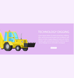 Machinery industrial digger bulldozer transport vector