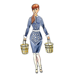 Maid with milk buckets for 12 days christmas vector