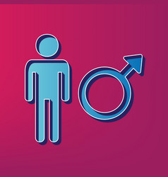 male sign blue 3d printed vector image