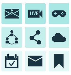 Media icons set with publish teamwork calendar vector