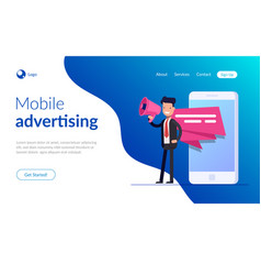 Mobile advertising concept businessman or manager vector