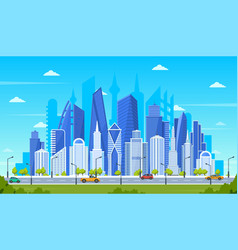 modern city concept office buildings with street vector image