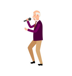 Music performer male holding microphone isolated vector