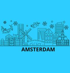 netherlands amsterdam winter holidays skyline vector image