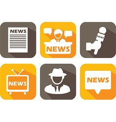 News Media Long Shadow Icons vector image