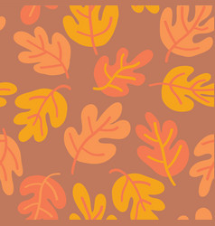 oak leaf seaonal background orange yellow gold vector image